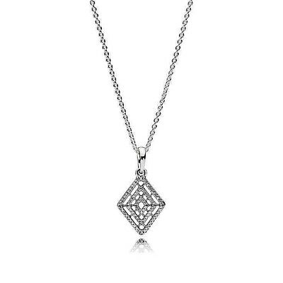 PAVE CRYSTAL GEOMETRIC LINES PENDANT NECKLACE  60cm .925 Sterling Silver Chain