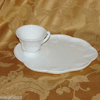 Vintage Indiana White Milk Glass Snack Set Harvest Grapes Footed Cup Plate