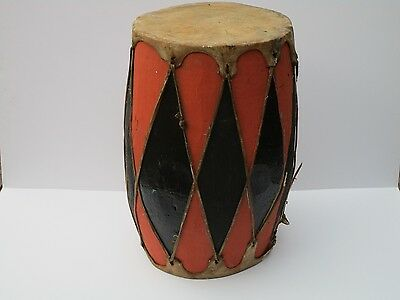 Vintage - Antique Large Folk Art Indian Style  Drum 20 Inches Painting Tribal