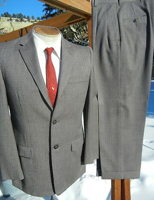 SWING 1950s Fleck Suit 40S 28x27 Alterable - Hollywood Drop Loops, Narrow Lapels