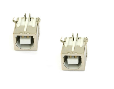 2 x USB 2.0 Type B Female Jacks Ports 90 Degrees Angle Printer Scanner USB-B A+