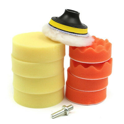 """10Pc 3"""" Waxing Buffing Polishing Sponge Pad Auto Car Polisher with Drill Adapter"""