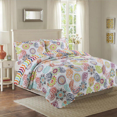 Floral Quilted Patchwork Queen/King Size Bedspreads Set Coverlet Throw Blanket