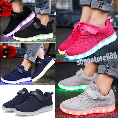 New Children Kids Boys Girls LED Light Up Shoes Luminous Casual Sneakers 7 Color