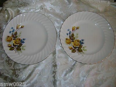 Set 2 Vintage Ridgway Favourite Rose Dinner Plate Ridgeway Favorite Yellow Gold