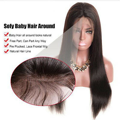 Reallook Women Long Straight Lace Full Wig Front Baby Hair Bleached Knots Wigs