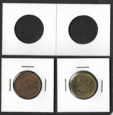 COIN HOLDERS Square 2 x 2 Staple Type 27.5mm Suits $1 & ½d Coins Pack of 50