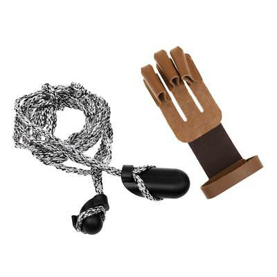 Archery 3 Fingers Glove Hand Guard Gear with Bow Stringer Install Tool Rope