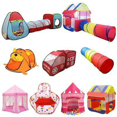 Kids Portable Indoor Outdoor Play Tent Playhouse Ball Pit Tunnel Pop Up Hut Toys