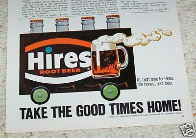 1975 old ad - Hires Root Beer soda pop - Crush Evanston Illinios vintage ADVERT
