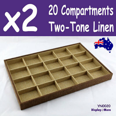 PREMIUM 2X Jewellery Tray-20 Compartments | Two-Tone LINEN | AUSSIE Seller