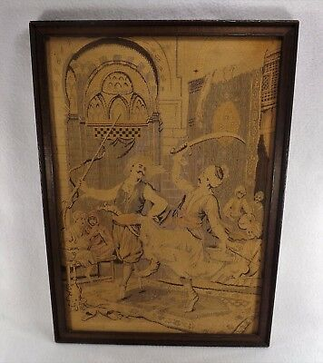 Antique Tapestry Hand Woven? Framed Arabian Dancing Sword & Gun