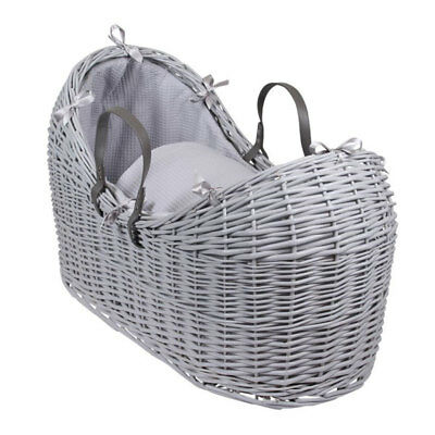 Clair de Lune Waffle Grey Noah Pod Wicker Moses Basket, Grey