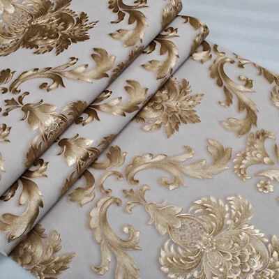 Luxury MetallicTextured Damask Wallpaper Roll  White Gold Home Room Decor PVC