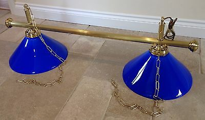 New Snooker Or Pool Table Lights Brass With Blue Or Green Shades 2 Way