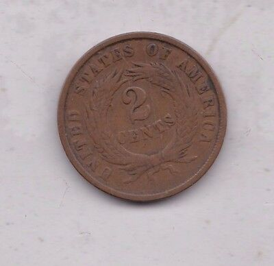 Usa 1865 Fancy 5 Two Cents In Fine Condition