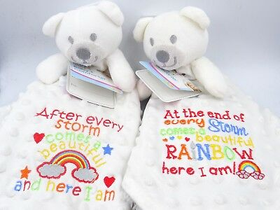 Personalised Embroidered Teddy Bear RAINBOW BABY Comforter Blanket Taggie gift