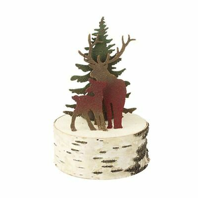 Metal Red Deer & Christmas Tree Rustic Christmas Tealight Holder