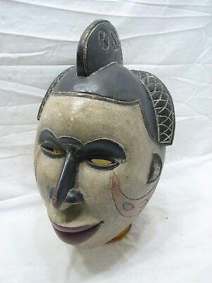 Nigerian African Tribal Art Igbo Tribe Primitive Hand Carved & Painted Wood Mask