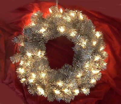 "SILVER TINSEL 24"" WREATH with Clear Mini Lights Christmas UL Electric In/Outdoor"