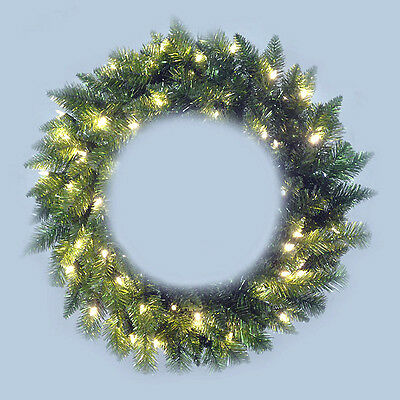 "SILVER & GREEN TINSEL 24"" Christmas WREATH with Clear Mini Lights NEW  Sparkles"