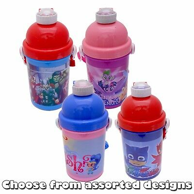Kids Character 400ml Plastic POP UP WATER BOTTLE /w Carry Strap - Assorted