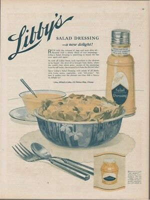 1918 Libby Salad Dressing Mustard Chicago Antique Kitchen Wall Decor Ad