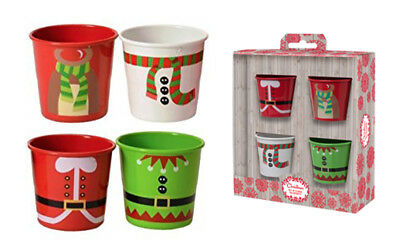 Eddingtons Christmas Egg Cups Pails Holders Set of 4 Red White Green Boxed Gift
