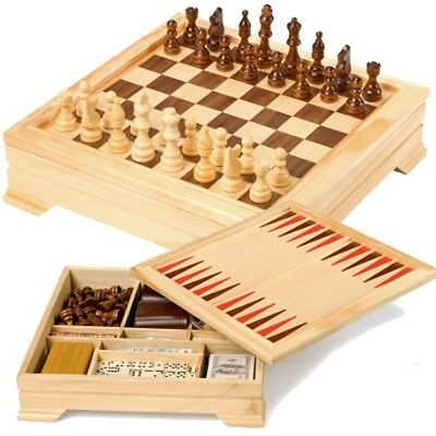 Wooden Board Game Chess Draughts Poker Cribbage Die Backgammon Compendium