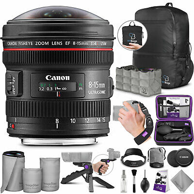 Canon EF 8-15mm f/4L USM Fisheye Ultra-Wide Zoom Lens with Accessories Bundle