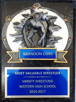 """Wrestling - Coach's / Sponsor Plaque 9"""" x 12"""""""" with RF-3775 Oval"""