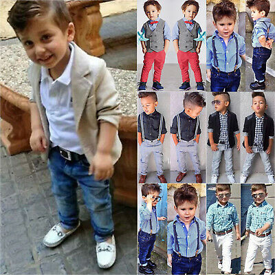 Kids Toddler Baby Boys Gentleman Coat+Long Sleeve Shirt+Denim Pants Outfits Set