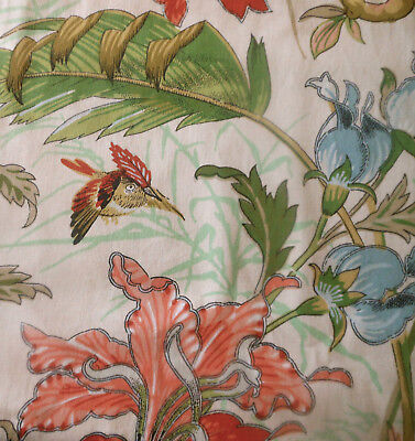 Vintage French Lily Mum Floral Foliage Bird Cotton Fabric ~  Blue Green Brown