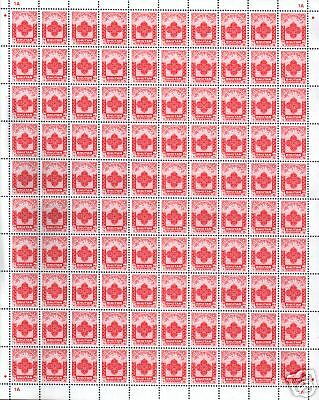 Bhutan 5 Ngultrum 1980 Fiscal Revenue Stamp Rare Complete Sheet Of 100 Stamps