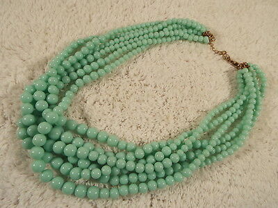Seafoam Blue Bead Multi Strand Necklace (D16)