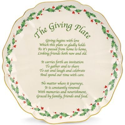 "Lenox Holiday Carved 10"" Giving Plate **NIB**"