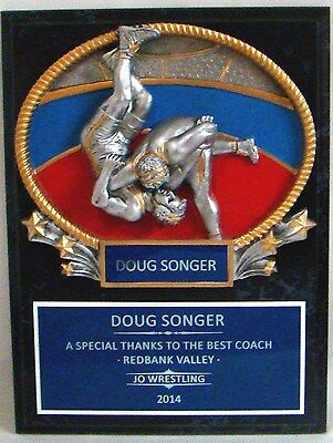 """Wrestling - Coach's / Sponsor Plaque 9"""" x 12"""""""" with 3D434 Oval"""
