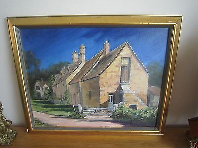 original oil painting of the cotswolds signed Anne Linney in gold frame