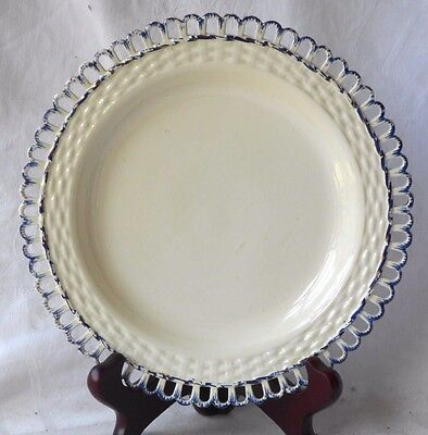 C18Th Creamware Plate With Basket Weave Border