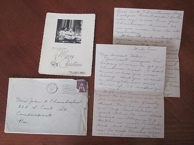 Vintage Post WWII 1945 Military Family Christmas Greeting Photo Card & Letter