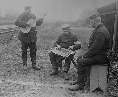German soldiers playing musical instruments in the field World War I 8x10 Photo