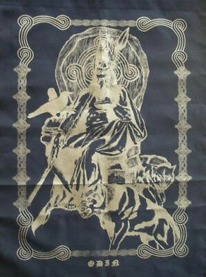 ODIN WITH WOLF & RAVEN ALTAR CLOTH -  BANNER NORSE Wicca Pagan Witch Goth COTTON