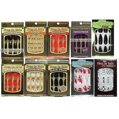 FRIGHT NIGHT*24 Pre-Glued HALLOWEEN Press On Nails *YOU CHOOSE* Stiletto+Square