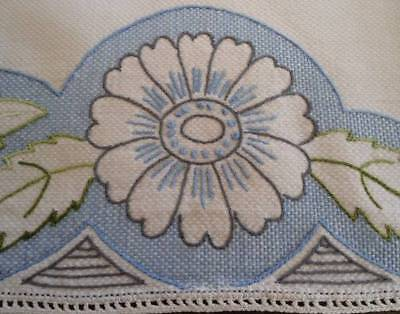Vintage Blue Embroidered Huck Table Runner Art Deco Floral French Knot