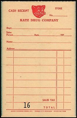 Vintage receipt KATZ DRUG COMPANY picturing the cat unused new old stock n-mint