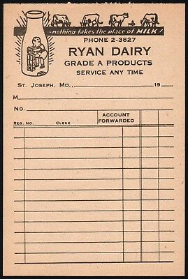 Vintage receipt RYAN DAIRY milk bottle and cows St Joseph Missouri unused nrmt+