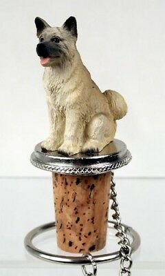 Akita, Fawn Dog Hand Painted Resin Figurine Wine Bottle Stopper