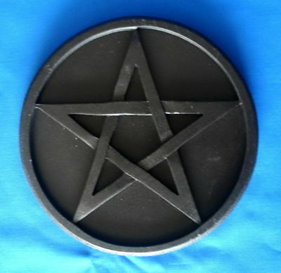 BLACK WOODEN ALTAR PENTACLE 20cm Wicca Pagan Witch Goth