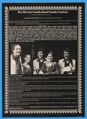 1978 McLain Family Band Festival Bluegrass Berea KY VA Boys Buck White Renfro Ad