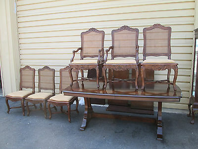 58319   Quality dining Table with 6 French Caned Chairs